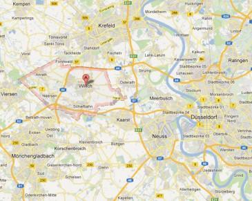 Lage Willich (Quelle: Google Maps)