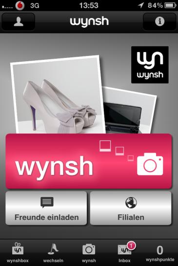 wynsh - Der Startbildschirm