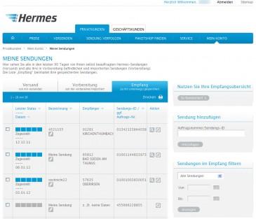 Die neue Empfangsübersicht auf myHermes.de nimmt bis zu 50 Hermes-Sendungen auf und ermöglicht dem Nutzer deren komfortable Verwaltung.