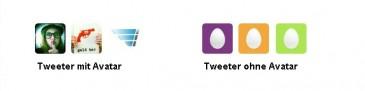 Tweeter mit und ohne individuellem Avatar