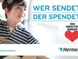 Wer sendet der spendet. Pro Hermes Paket 2 Cent an Ein Herz für Kinder