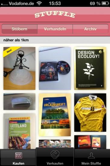 Produktsuche in der Stuffle-App