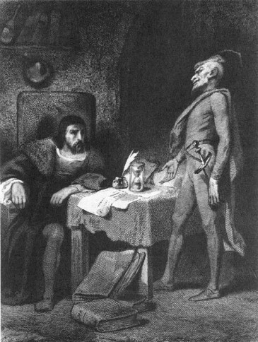 """Faust and Mephisto in Fausts's study, engraving by Tony Johannot after """"Faust"""" by Goethe Date 1845–1847"""