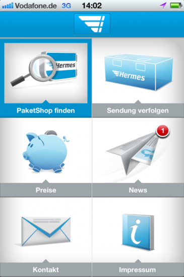 Hermes App_Screenshot-Startseite