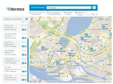 PaketShop-Finder auf myHermes.de