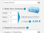 2. Schritt Layout: myHermes.de Versandkostenrechner