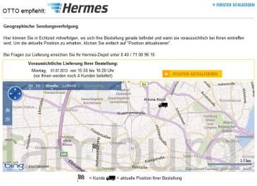 Hermes Einrichtungs Service Geografische Sendungsverfolgung
