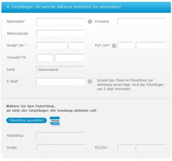 Hermes PaketShop als Versandadresse auswählen