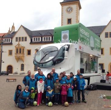 Besuch von Hermes Zustellern des Depot Brand-Erbisdorf