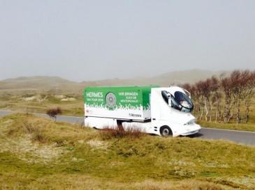 Der Hermes Fan Tour Truck auf Norderney
