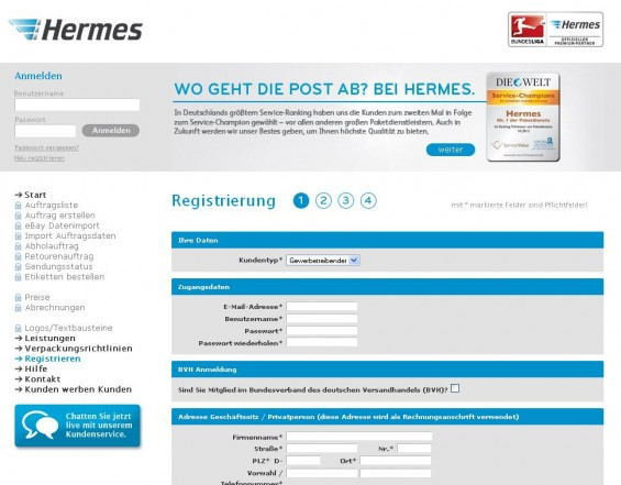 Live Chat Angebot beim Hermes ProfiPaketService