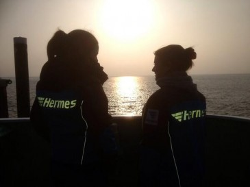 Das Team auf der Fähre von Norderney zurück zum Festland