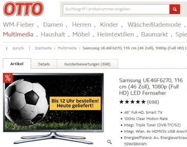 Otto Online-Shop: Fernseher mit Same-Day-Delivery (Quelle: otto.de)