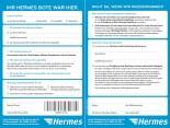 Hermes Benachrichtigungskarte seit August 2014 (links: Vorderseite, rechts: Rückseite)