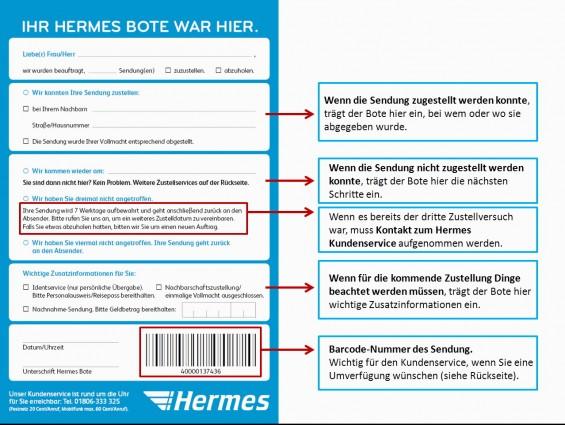 Hermes Benachrichtungskarte