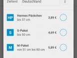 Auswahl der Paketklasse für den Mobilen Paketschein