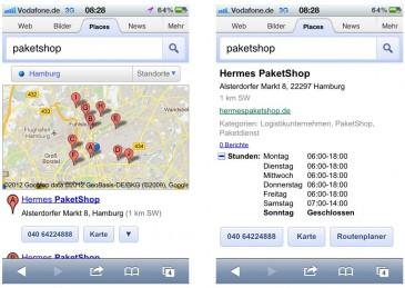 Hermes bei Google Places auf dem iPhone